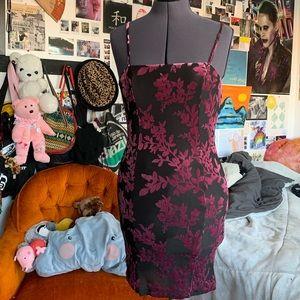 black & violet crushed velvet dress